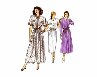 1980s Misses Shirtdress with Straight or Flared Skirt Vogue 9872 Vintage Sewing Pattern Size 8 - 10 - 12 Bust 31 1/2 - 32 1/2 - 34 UNCUT