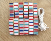Patriotic Red White and Blue Stripes Clips w Twine for Photo Display - Chunky Little Clothespin Set of 12