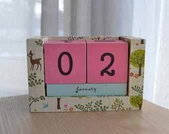 Perpetual Wooden Block Calendar - Deer Bunnies and Birds in the Woods - Pink and Sky Blue