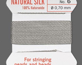 Gray Silk Beading Thread - Size No. 6