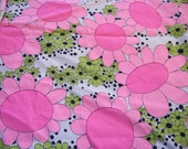 Groovy floral, daisy pink, lime green navy white cotton sheeting , polka dots, Vintage