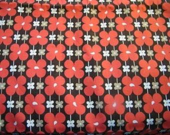 Vintage cotton decorator weight floral fabric red, brown, tan, white
