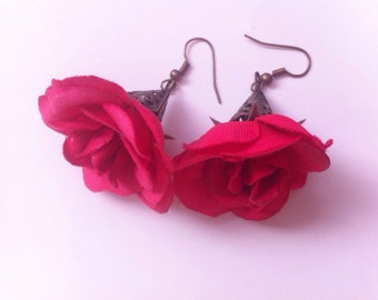 Flower Earrings Red Garden Earrings with Antiqued Brass Filigree Dangles