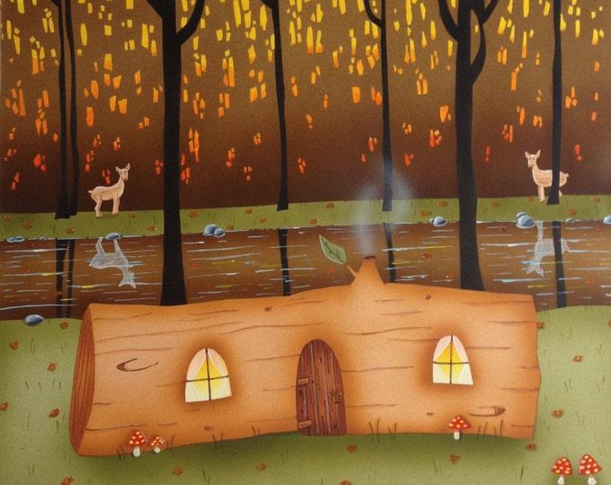 """FRAMED ART PRINT Custom Framed """"Log Home"""" 12""""x 12"""" Art Print"""