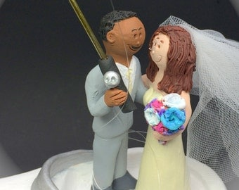 African American Groom, Caucasian Bride Wedding Cake Topper, Mixed Race Wedding Cake Topper, Interracial  Wedding Cake Topper Custom Made