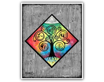 Celebrate Creativity Art Print - Branches of Expression - Minimalist Modern Contemporary Artwork Vibrant Color Sizes 8x10 11x14 16x20 20x24