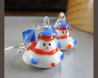 Winter Snowperson Snowman Earrings