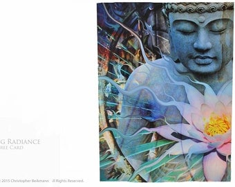 Living Radiance - Two Buddha and Lotus Flower Tree-Free Greeting Cards by Christopher Beikmann