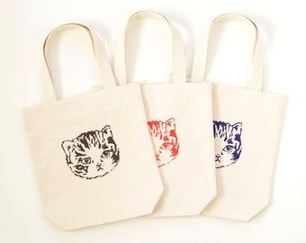 Kid's Kitty Tote Bag | Cute Cat Screen Print on Handmade Cotton Canvas | Dark Purple, Brown or Red