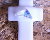 White Fused Glass Cross Pendant With Dichroic Detail and Black Silk Necklace