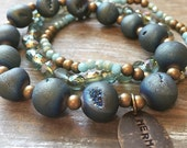 Mermaid Hand Stamped Charm, Peacock Blue Agate Druzy, Glass Crystal & Brass Bead Bracelet Set of 3