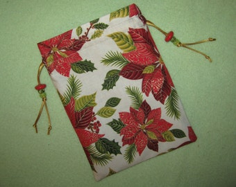 Tarot Card Bag Pointsettia Oracle of Flowers Solstice Blossom Yule Magick