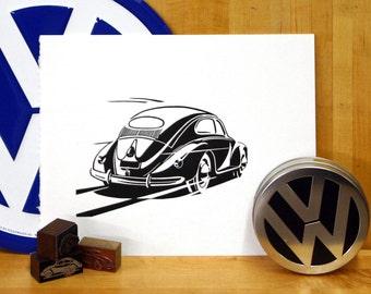 Volkswagen Beetle Linoleum print