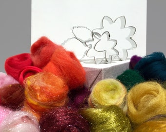 Brooch Needle Felting Kit: Flower Brooch DIY Flower Cookie Cutters gift wool flower felting tutorial wool craft poinsettia Christmas brooch
