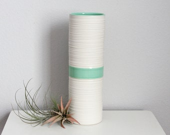 Mint Green Porcelain Vase - Tall Groove Vase in Mint Green