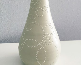 Tall Porcelain Bottle - SHOP SALE - Ceramic Bottle Vase in Sage Green with Dots