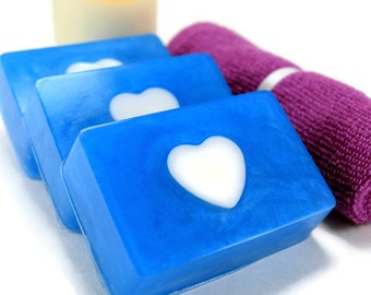 Waterlily and Bluebell Glycerin Soap Bar, Blue Heart Soap, Homemade Soap