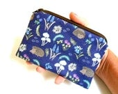 Zipper Pouch Little Coin Purse ECO Friendly Padded NEW Garden Bluebell Hedgehogs