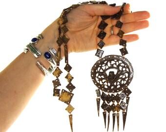 "60s RARE Eagle Necklace / Vintage 1960s Handmade Carved Coconut Hippie Boho Ethnic Tribal Bohemian ""Botanical Jewelry"" / Statement Medallion"