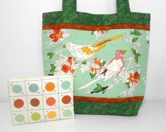 Painted Bird Tote Bag Set, Paint by Number Birds, Medium Purse Set