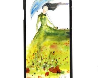"""Phone Case """"Lady of the Glade"""" - Watercolor Art Print Blue Umbrella Girl Spirit Woman Red Farm Green By Olga Cuttell"""