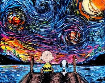 Snoopy Art - Charlie Brown and Snoopy Peanuts Cartoon Starry Night print van Gogh Never Sat At The Dock Of The Bay by Aja DIGITAL DOWNLOAD