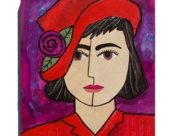 50% OFF SALE - RED Hat art - Woman Portrait, Red and Purple - 11 x 14 Mixed Media Collage Art, Whimsical Female Art by Claudine Intner