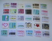 60 little mini notecards, lunch box love notes, tiny mixed lot notecards, 2 x 2 mini notecards, mini shop notecards, blank notecards, lot T