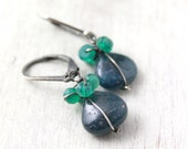 Apatite and Green Onyx Bundle Oxidized Silver Earrings