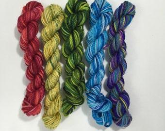 5 pack Koigu KPPPM sock yarn mini skeins - Rainbow