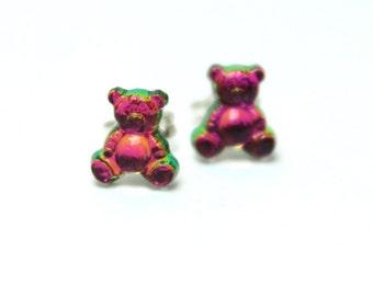 Crystal Gummi Bear Earrings Vitrail Swarovski Flat Petite Post Stud Sterling Silver Pink Gold Green Blue Rainbow Teeny Tiny Girls Candy Love