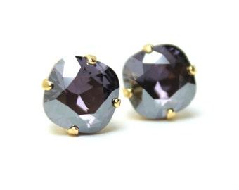 Purple Crystal Stud Earrings Sparkling Tanzanite Luster D  Metallic Gray Grey Solitaire Swarovski Sterling Silver Post Violet Tulip Lilac