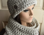 Hat and Scarf Set Crochet Cloche Infinity Scarf Silver Gray