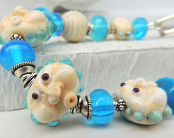 CLOUDY with a CHANCE of WHIMSY Handmade Lampwork Bead Bracelet and Earrings Set