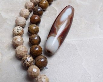 Picture Jasper and stone beads plus Agate pendant bead