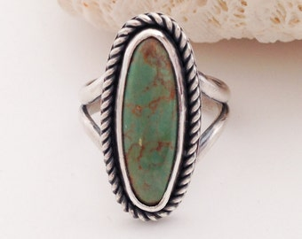 Turquoise Ring Size 7 3/4 Kingman Turquoise Green Stone Ring Handcrafted Bezel Set Stone Ring, Artisan Silversmith Bohemian Handcrafted Ring