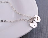 Personalized Silver Initial Necklace, Gift for Mom, Children's Initial Necklace
