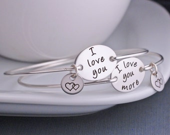 I Love You More Mother Daughter Bracelets, Christmas Gift Set, Mom and Daughter Jewelry Gift Set, Christmas Gift for Her