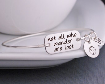 Not All Who Wander Are Lost Bracelet, Personalized Jewelry Gift, Inspirational Jewelry Graduation Gift