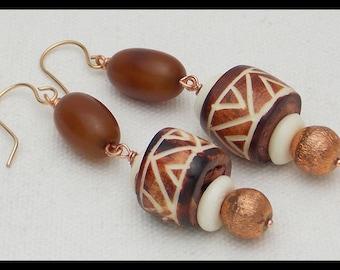 TRIBAL BONE - Handmade African Carved Tribal Bone Beads - Copper and Amber Resin Long Statement Earrings