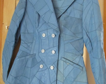 1970's Blue Leather Patchwork Jacket Vintage Custom Made Tailored Fitted Double Breasted Coat Fits Small-Med