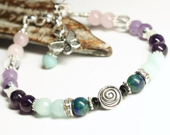 Baby Swirl Fertility Bracelet with Black Onyx, Amazonite, Chrysocolla, Rose Quartz, Amethyst, Moonstone gemstones,thyroid imbalances,