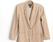 sale vintage 1990s Tan Linen Cotton Blazer / oversized Relaxed Fit Jacket / Boho casual / s m