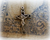 vintage crucifix ebony inlay very vintage inlaid ebony INRI banner