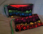 Colorful music-themed zip clutch purse