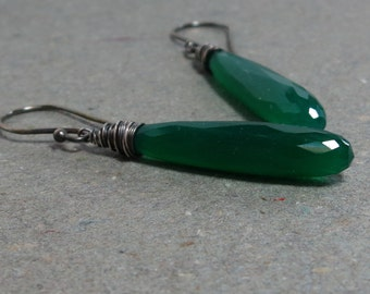 Green Onyx Earrings Long Earrings Wire Wrapped Earrings Oxidized Sterling Silver Earrings Gift for Her