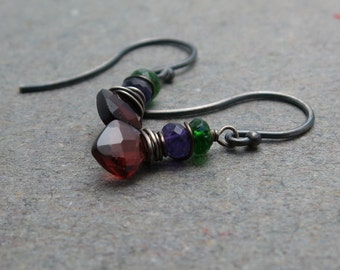 Garnet Earrings Geometric Jewelry January, February Birthstone Amethyst, Chrome Diopside Oxidized Sterling Silver Earrings