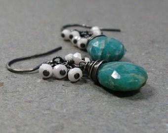 Amazonite Earrings White Agate Earrings Cluster Earrings Teal Earrings Oxidized Sterling Silver Earrings