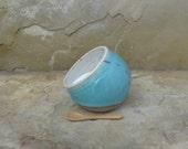 RESERVED - Salt Pig Cellar - Handmde Stoneware Ceramic Pottery - Blue Celadon and White - Ants - 10 ounces