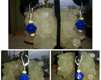 Sterling Silver, Lapis Lazuli, and Ethiopian Opal Earrings